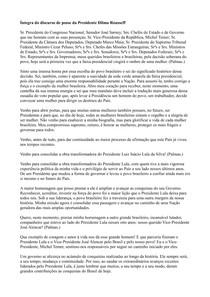 Ciência Política - Discurso de Posse de Dilmaa