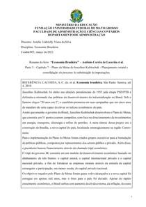 Resumo do livro Economia Brasileira Antônio Corrêa de Lacerda et al. Parte 3 Capítulo 7 Plano de Metas de Juscelino Kubitschek - Planejamento estatal e consolidação do processo de substituição de impo