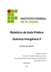 Relatório de Aula Prática Química Inorgânica II