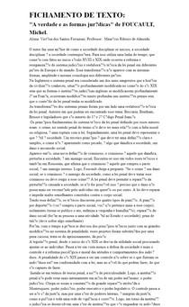 """FICHAMENTO DE TEXTO: """"A verdade e as formas jurídicas"""" de FOUCAULT, Michel"""