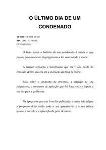 O ÚLTIMO DIA DE UM CONDENADO resumo