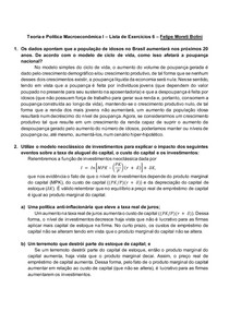 Teoria e Política Macroeconômica I Lista de Exercícios 6 Felipe Moreti Bolini