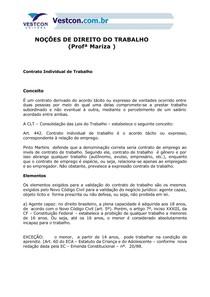 Noções de Direito do Trabalho - Vestcon