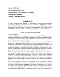 TRABALHO DE BARROCO
