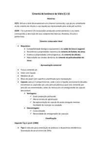 Cimento de Ionômero de Vidro- Resumo Pratico