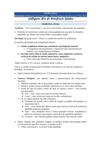 Neoplasias (Nomenclatura, Características e Epidemiologia) - Patologia (Robbins & Cotran)