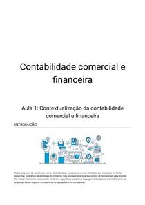Contabilidade comercial e financeira - Aula 1 Contextualização da contabilidade comercial e financeira