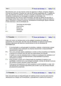 GESTÃO DE MATERIAIS exercicios aula 1a 8