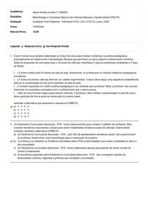 Avaliação Final (objetiva) Ciências Naturais e Saúde Infantil