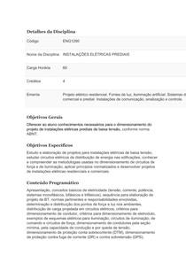 PLANO DE ENSINO - INSTALAÇÕES ELÉTRICAS PREDIAIS