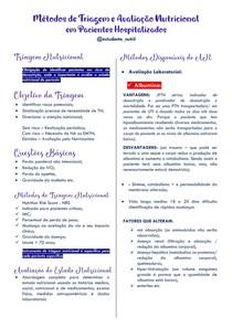 MÉTODOS DE TRIAGEM E AVALIAÇÃO NUTRICIONAL EM PACIENTES HOSPITALIZADOS - RESUMO