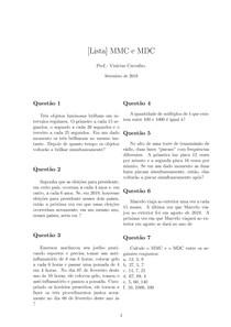 [Lista de Exercícios] MMC e MDC