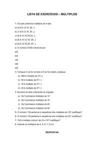 Lista de exercícios de múltiplos
