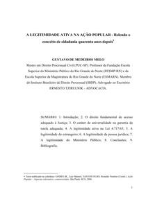 A LEGITIMIDADE ATIVA NA AÇAO POPULAR