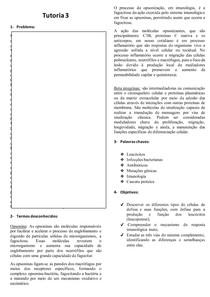 Tutoria 3 BBPM 1 - Resposta Imunológica Inata; Células de Defesa; Sistema Complemento
