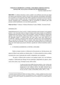 VIOLENCIA DOMÉSTICA CONTRA A MULHER E SERVIÇO SOCIAL: ATUAÇÃO E INTERVENÇÃO PROFISSIONAL