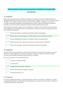 DEONTOLOGIA, ÉTICA E LEGISLAÇÃO DA MEDICINA VETERINÁRIA (UNIDADE 1 - ATIVIDADE 1)