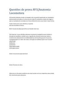 51 Questões de provas anteriores de AV1 Anatomia locomotora