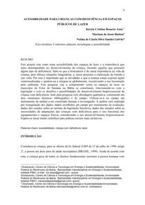 ACESSIBILIDADE PARA CRIANCAS COM DEFICIENCIA EM ESPACOS PUBLICOS DE LAZER