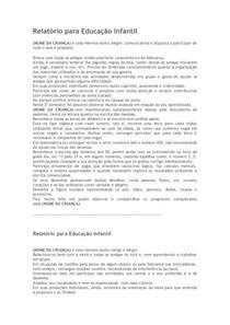 Modelo De Relatório Para Educação Infantil Pedagogia 2