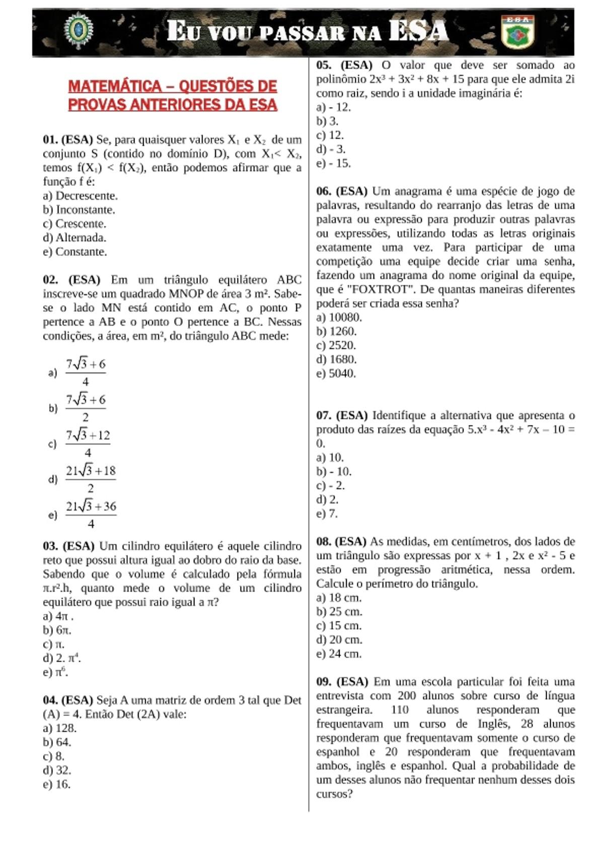 Pre-visualização do material EXERCÍCIOS DE MATEMÁTICA PARA CONCURSO DA ESA - página 1