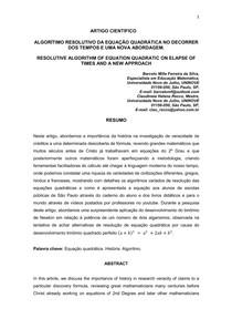 ALGORÍTIMO RESOLUTIVO DA EQUAÇÃO QUADRÁTICA NO DECORRER DOS TEMPOS E UMA NOVA ABORDAGEM