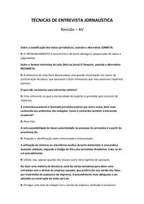 Técnicas de Entrevista Jornalística - Revisão (AV)