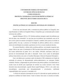 GEOGRAFIA E GESTÃO DE POLÍTICAS PÚBLICAS
