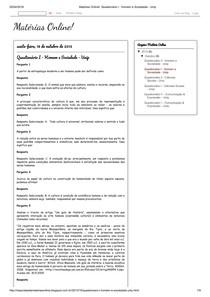 Matérias Online!  Questionário I   Homem e Sociedade   Unip