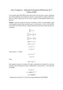 Juros Compostos - Aplicação de Equações Diferenciais de 1ª Ordem (EDO)