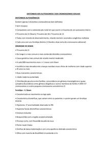 DISTÚRBIOS DOS AUTOSSOMOS E DOS CROMOSSOMOS SEXUAIS