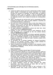 ROTAS METABÓLICAS E METABÓLITOS DE INTERESSE VEGETAL