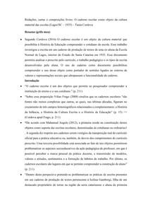Fichamento Redações, cartas e composições livres: O caderno escolar como objeto de cultura material das escolas (Lages/SC - 1935) - Tania Cordova