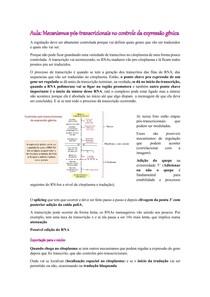 Mecanismos pós-transcricionais no controle da expressão gênica - parte I