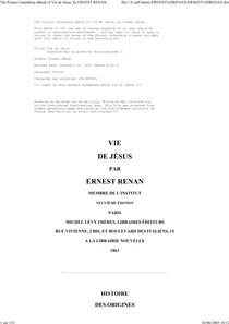 Histoire Des Origines Du Christianisme. 1, Vie de Jesus - Renan E. & Ernest Renan - Hachette Livre - Bnf - mars, 1863