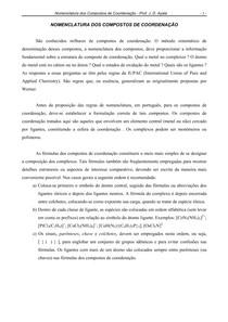 nomenclatura dos compostos de coordenação