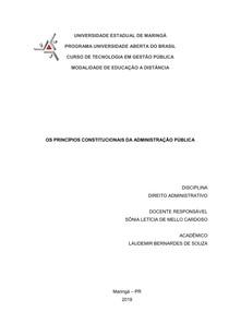 AVALIAÇÃO DIREITO ADMINISTRATIVO PRINCÍPIOS CONSTITUCIONAIS