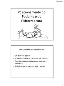 Posicionamento do Paciente e Fisioterapeuta