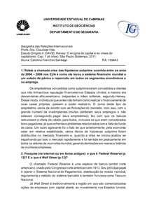 Estudo Dirigido 4: DAVID, Harvey. O enigma do capital e as crises do capitalismo. Cap. 1 (A crise). São Paulo: Boitempo, 2011.