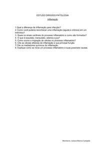 ESTUDO DIRIGIDO-Inflamação