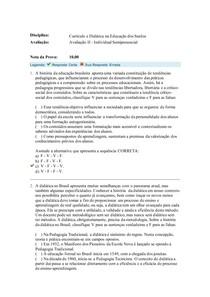 Currículo e Didática na Educação dos Surdos - Avaliação II - Semipresencial