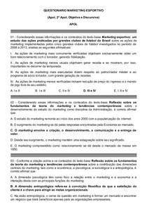 QUESTIONARIO MARKETING ESPORTIVO