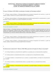 EXERCÍCIOS - PRINCIPAIS TEORIAS DO DESENVOLVIMENTO HUMANO