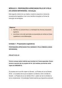 Processo Legislativo Federal - MÓDULO II