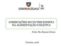 ATRIBUIÇÕES DO NUTRICIONISTA