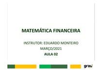 MATEMÁTICA FINANCEIRA - AULA 02