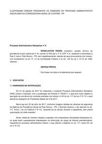 Modelo De Defesa Prévia Direito Administrativo Direito Adm