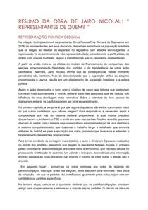 """Resumo do livro """"Representantes de quem?"""" de Jairo Nicolau"""
