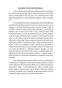 AVALIAÇÃO LITERATURA ESPANHOLA II CIVILIZAÇÃO ESPANHOLA