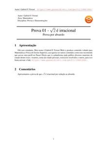 Prova 01 - raiz de 2 é irracional